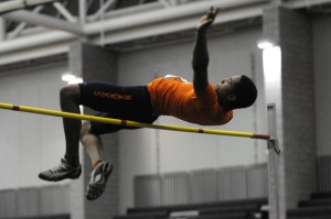 Demario Gray of Bloomfield won two events as the team won the Boys Indoor Track & Field Open Championship. Photo by John Woike - Hartford Courant.