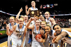 The Mercy girls basketball team is one to watch in the CIAC girls basketball tournament. Photo by Catherine Avalone - Middletown Press.