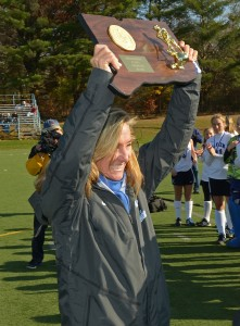 Darien field hockey championship trophy coach celebration