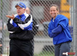 Southington has not missed a beat with Davina Hernandez (right) taking the reigns of the program from legendary coach John Bores (left).