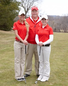 Berlin co-captains Julia Kemmling (left) and Ashley D'Attilio (right) and coach Jim Barnes are looking for an unprecedented fourth-straight CIAC girls golf title. Photo courtesy Jim Barnes