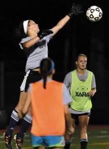 Stonington goalkeeper Gabi Hoops is a stabilizing leader for her team. Dana Jensen - The Day.