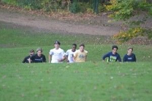 The Danbury cross country team helps fans get a feel for the Wickham Park championship course. New Haven Register - Pete Paguaga.