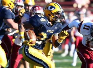 Josiah Shumaker found the end zone for Ledyard in the class M - Small final. MaxPreps photo by Richard Massie.
