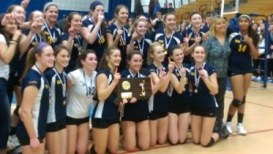 Haddam-Killingworth poses with the class S girls volleyball championship plaque. New Haven Register