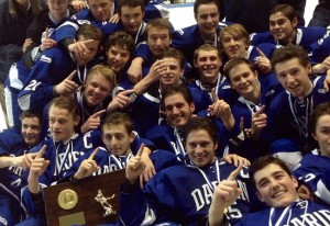 Darien celebrates its Division I hockey championship win. Steve Buono - Darien Times.