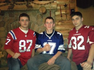 Jake Palmieri, Jake Bleau, and Ricky Bartone are standing together and supporting each other as football captains for different rivals. Photo courtesy of Waterbury Republican-American