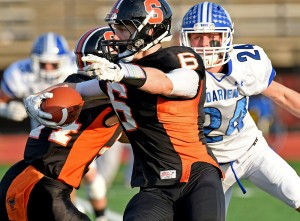 Darien's defense hounded Shelton in the Class LL final. Bill Berg - MaxPreps.