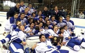 Darien celebrates its second-straight Division I hockey crown. Steve Buono - Darien Times.