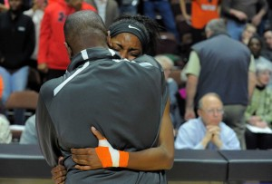 Stamford's Tiana England celebrates her team's first-ever basketball title. Matthew Brown - Hearst Connecticut.