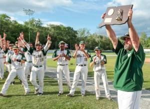 Notre Dame-West Haven celebrates its Class L baseball title. John Vanacore - New Haven Register.