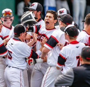 Fairfield Warde's Giacamo Brancato celebrates a big moment in the Class LL baseball final. John Vanacore - New Haven Register.