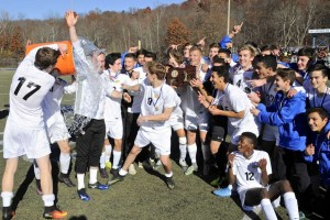 Brookfield celebrates its 1-0 win in the Class M boys soccer final. H John Voorhees III - Hearst Connecticut.